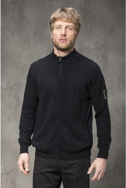 Cashmere Stehkragen-Jacke schwarz