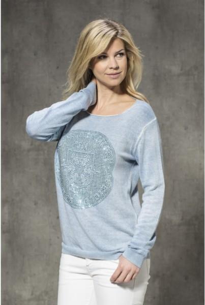 Sommer-Cashmere-Pullover hellblau