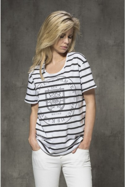 T-Shirt weiss schwarze Streifen und Strass