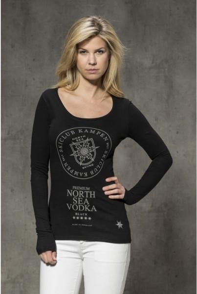 """Langarm-shirt mit Frontprint """"Vodka"""" schwarz"""