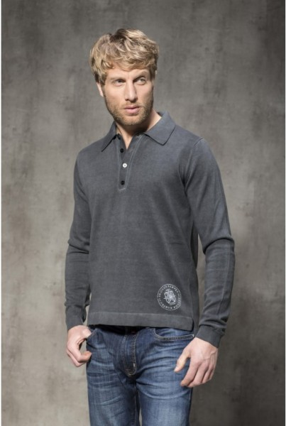 Polo Shirt Langarm anthrazit