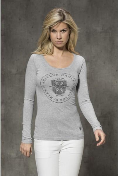 Langarm-Shirt mit Frontprint grau