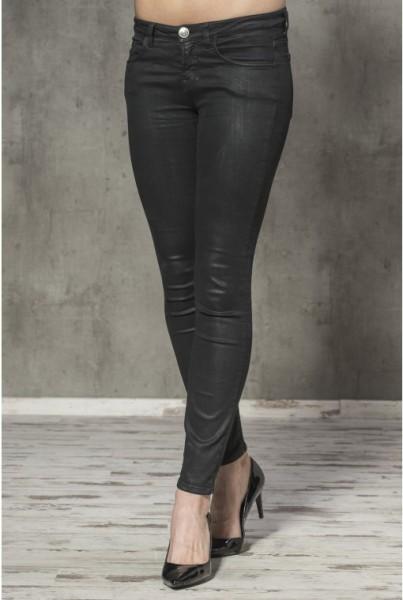 5-Pocket-Jeans in Lederoptik