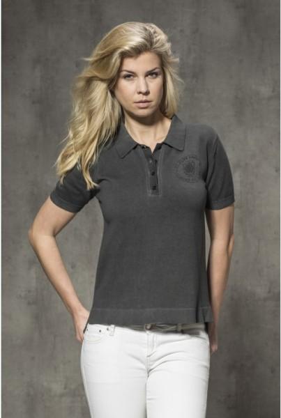 Damen-Polo-Shirt anthrazit Brustlogo