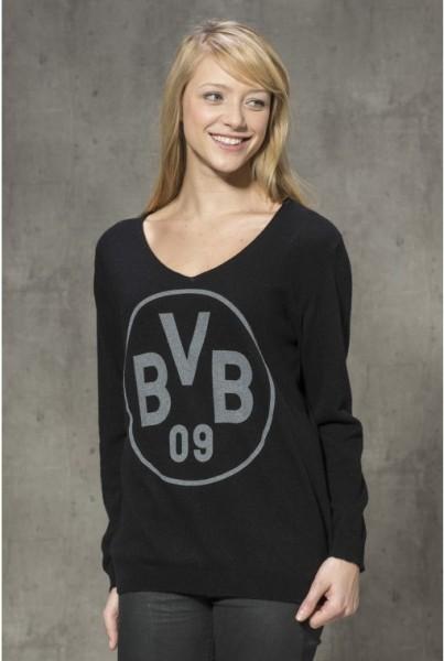 Cashmere-Pullover BVB schwarz, grauer Druck