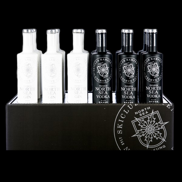 Flaschendisplay North Sea Gin (12 Flaschen) + Vodka (6 Flaschen)