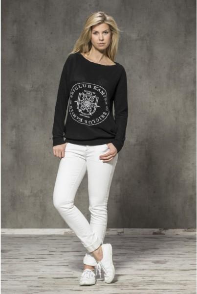 Netz-Strick-Pullover schwarz