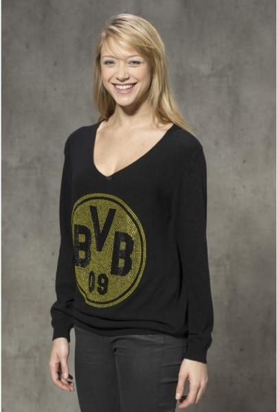 Cashmere-Pullover BVB Schwarz-gelber Strass