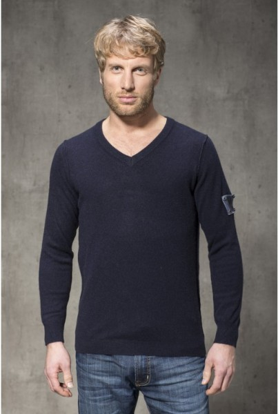 Cashmere Pullover klass. V-NECK dunkelblau
